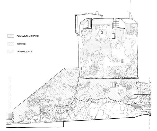 disegno della Torre con evidenziati i danni alla struttura. (Daniele Venturini e Giacomo Venturini)