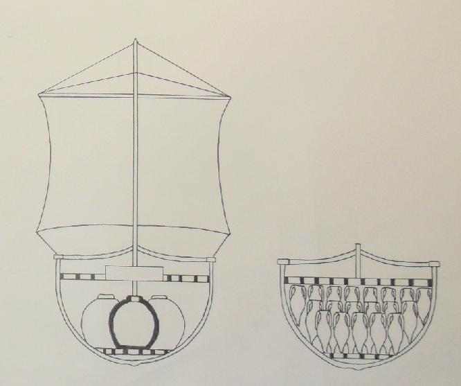 sezione a metà  della nave  e sezione a poppa