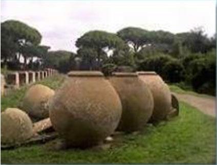Dolia, ossia enormi giare in terracotta, la cui capienza oscilla tra i 1200 e i 3000 litri, conservate nell'area Archeologica di Ostia Antica